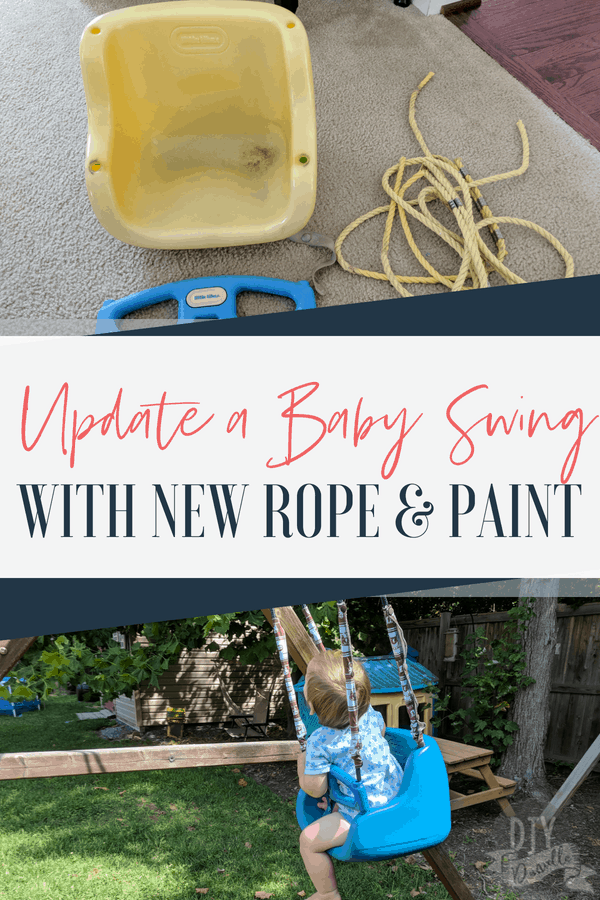 Update an old plastic baby swing with new paint and new rope. It's like new again!