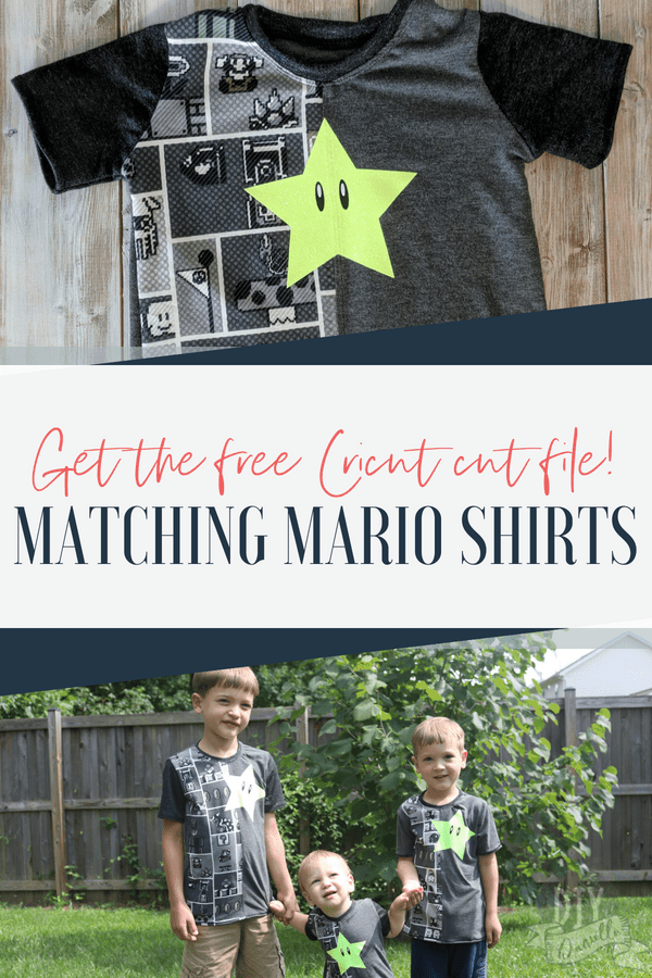 Matching Mario shirts using the Half Pipe sewing pattern and heat transfer vinyl. Get the free Cricut cut file for the Mario stars on diydanielle.com.