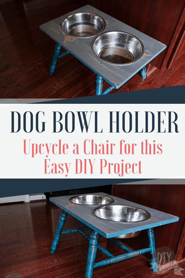 Raised Dog Bowls on a DIY Stand. This easy DIY project for your dog upcycles an old chair into a functional, rustic dog bowl holder.