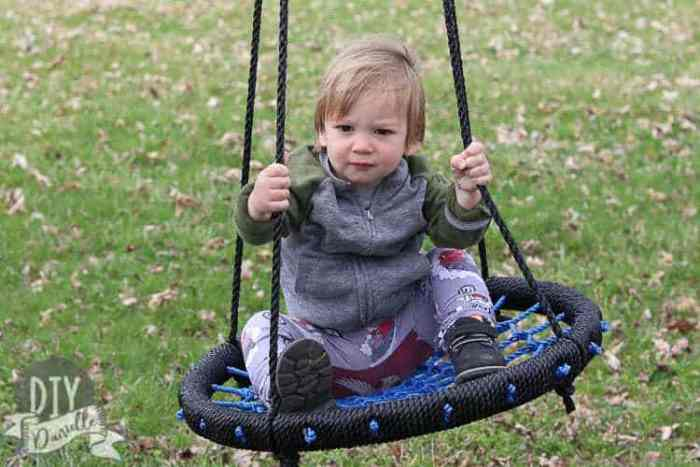 A spider web swing is a great option if you have a strong tree limb to hang it from.