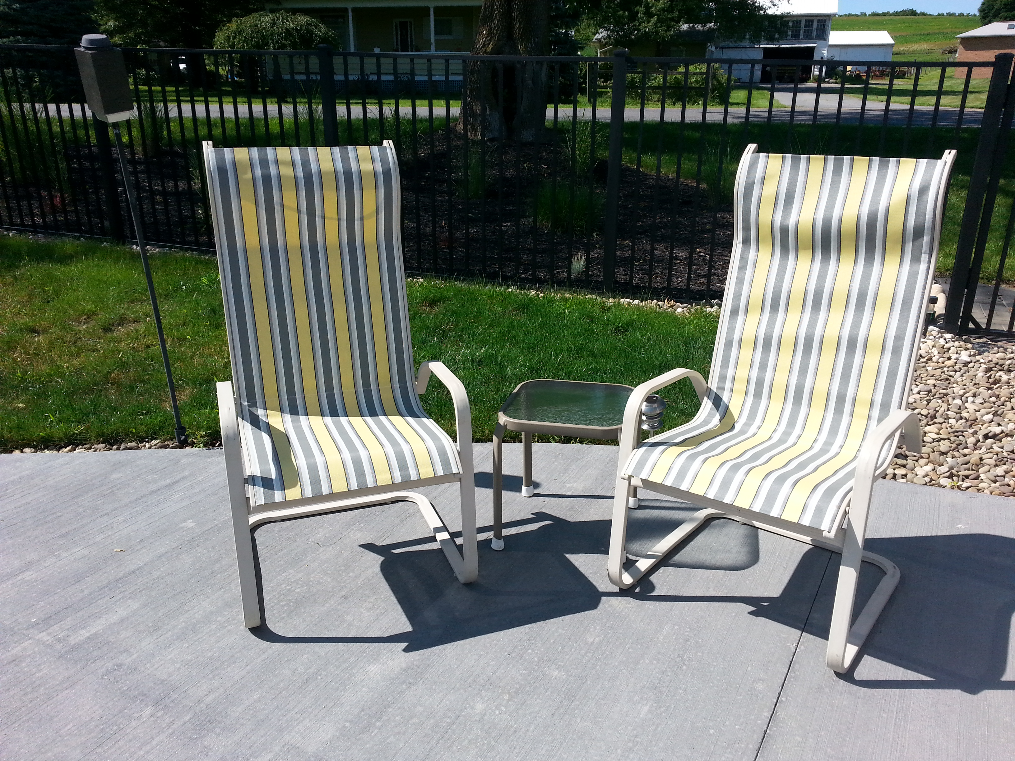 Chairs For Less Patio Sling Chairs Recover Diy Decorating For Less