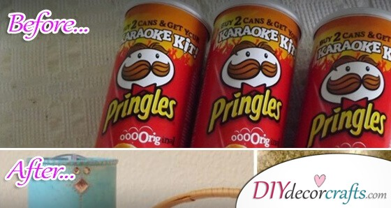 Genuinely Simple Crafts You Can Make Out Of An Old Tube For Potato Chips Diy Deco Crafts Home Decor Diy Gift Diy Craft Ideas Diy Ideen Deko Ideen