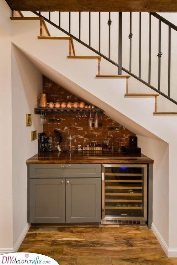 Small Kitchen Design Ideas Modern Small Kitchen Ideas | Kitchen Under Stairs Design | Stair Case | Wet Bar | Basement Stairs | Living Room | Basement Kitchenette