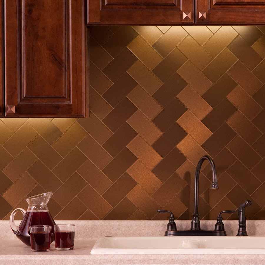 Aspect Backsplash-3x6 Brushed Bronze Long Grain Metal Tile