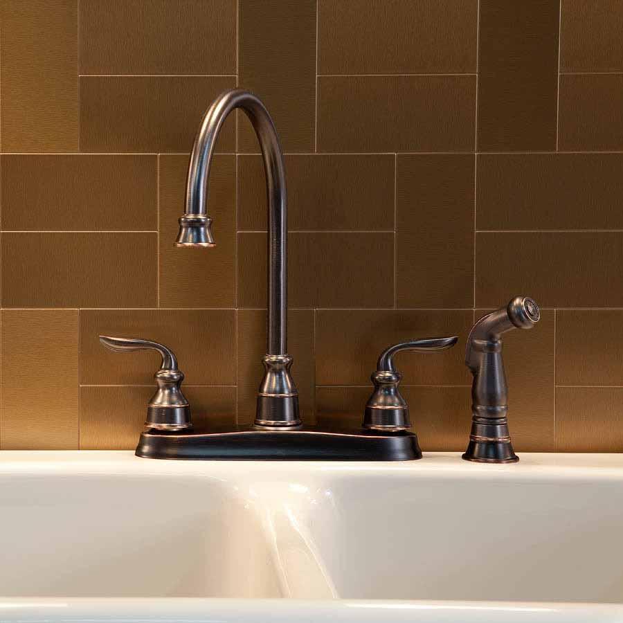 Aspect Backsplash-3x6 Brushed Bronze Short Grain Metal Tile