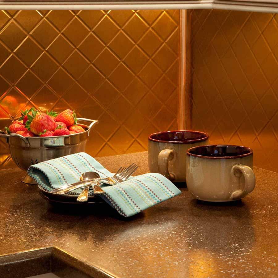Fasade Backsplash - Quilted in Polished Copper