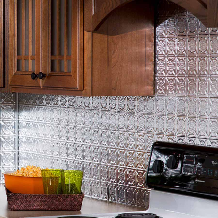 Fasade Backsplash - Traditional 6 in Brushed Aluminum
