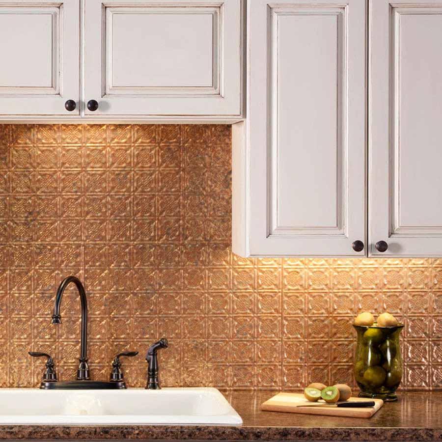 Fasade Backsplash - Traditional 6 in Cracked Copper