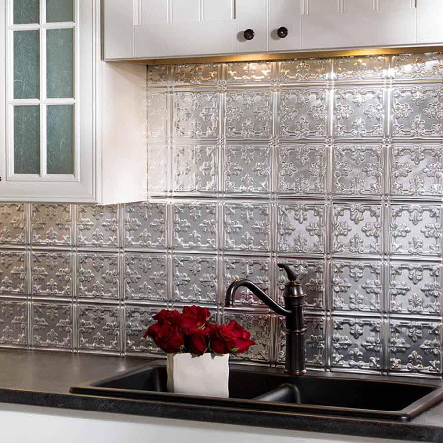 Fasade Backsplash - Traditional 10 in Brushed Aluminum