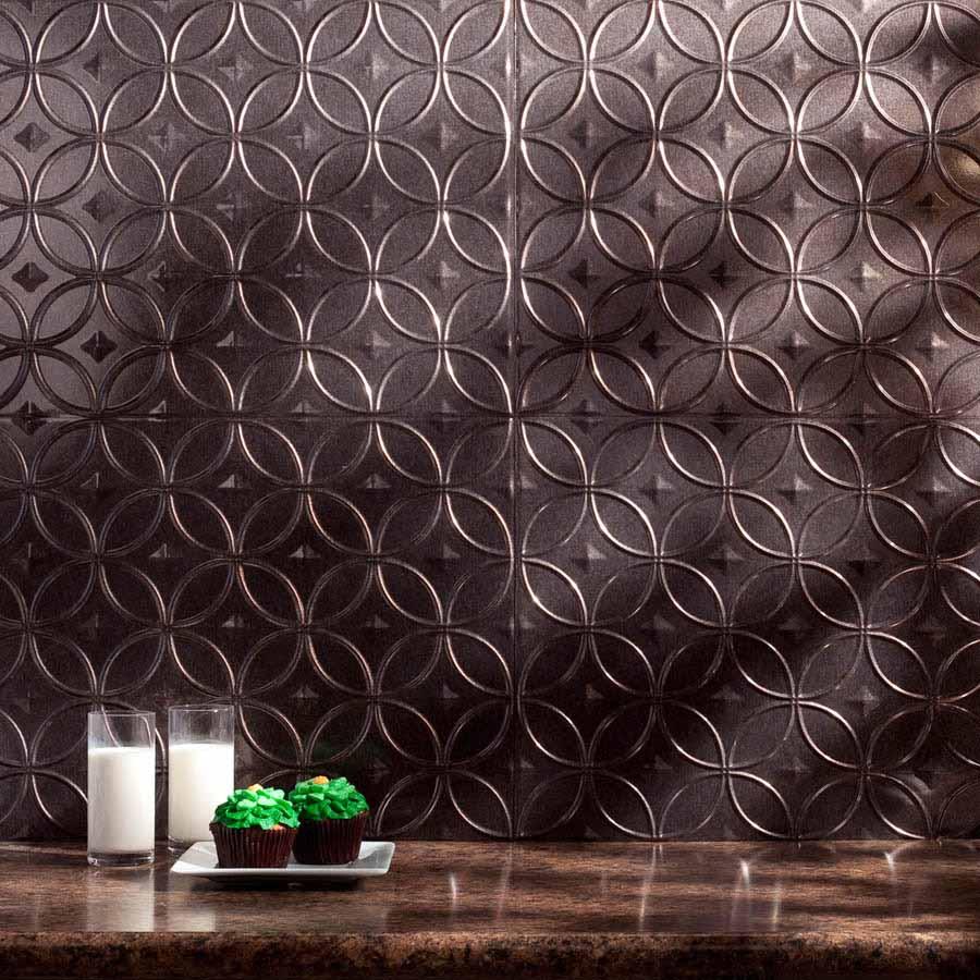 Fasade Backsplash - Rings in Smoked Pewter