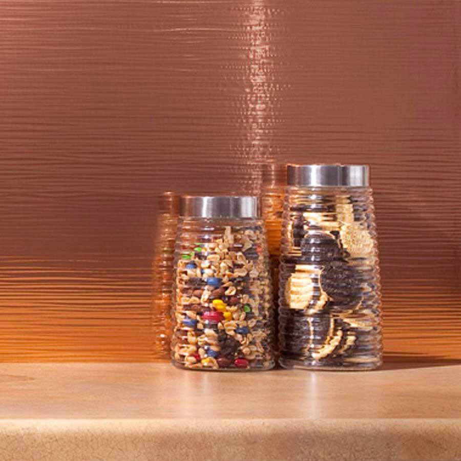 Fasade Backsplash - Ripple in Polished Copper