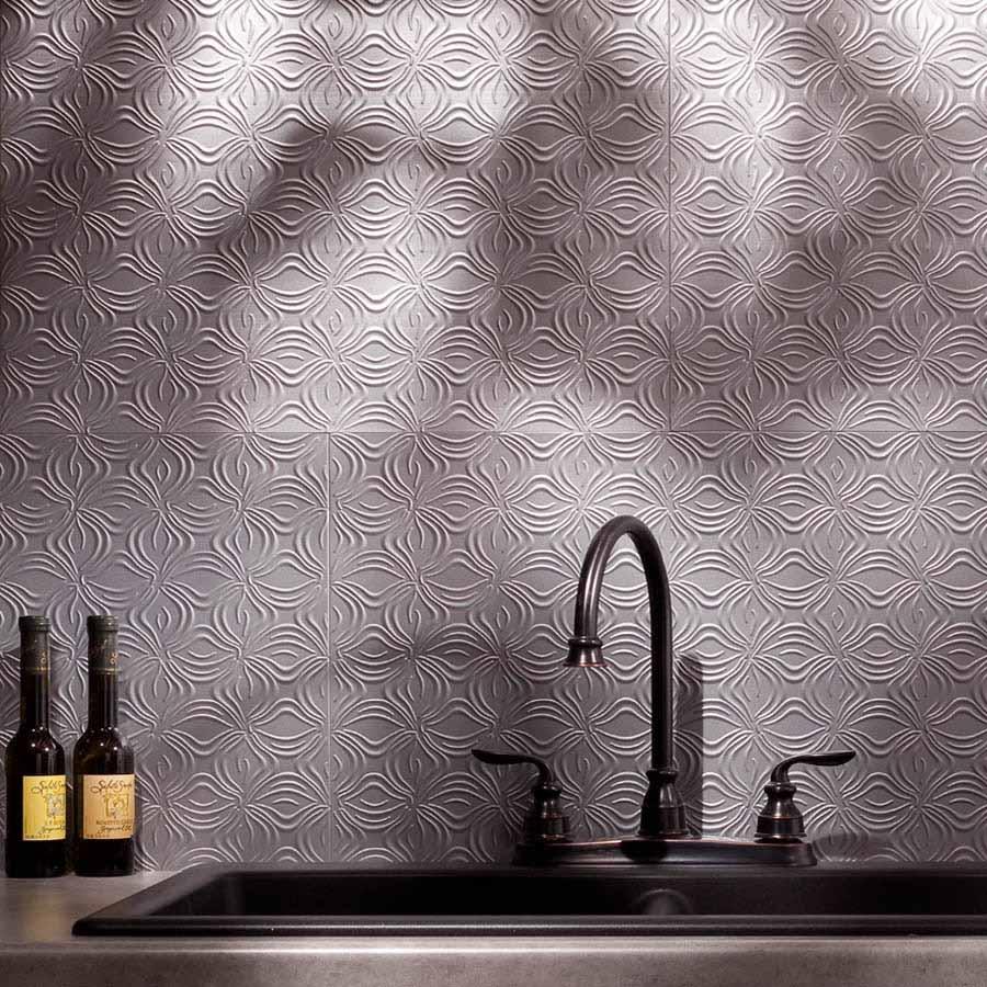 Fasade Backsplash - Lotus in Argent Silver