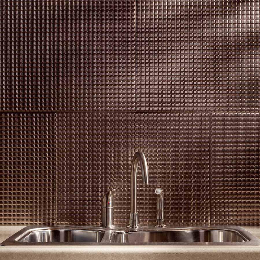 Fasade Backsplash - Square in Brushed Nickel