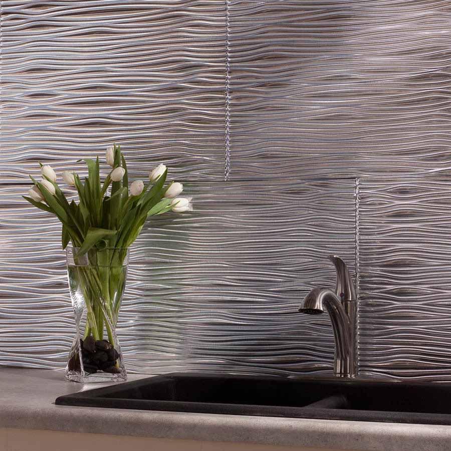 Fasade Backsplash - Waves in Brushed Aluminum