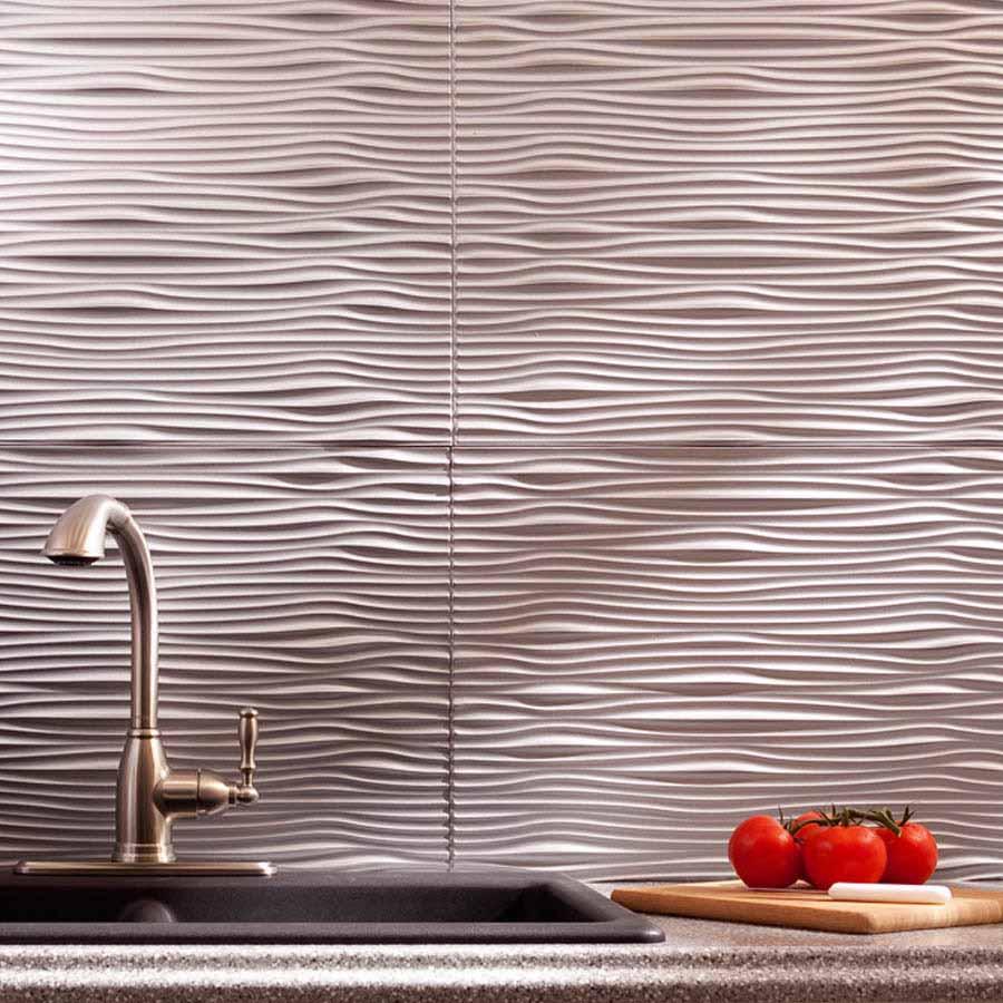 Fasade Backsplash - Waves in Argent Silver