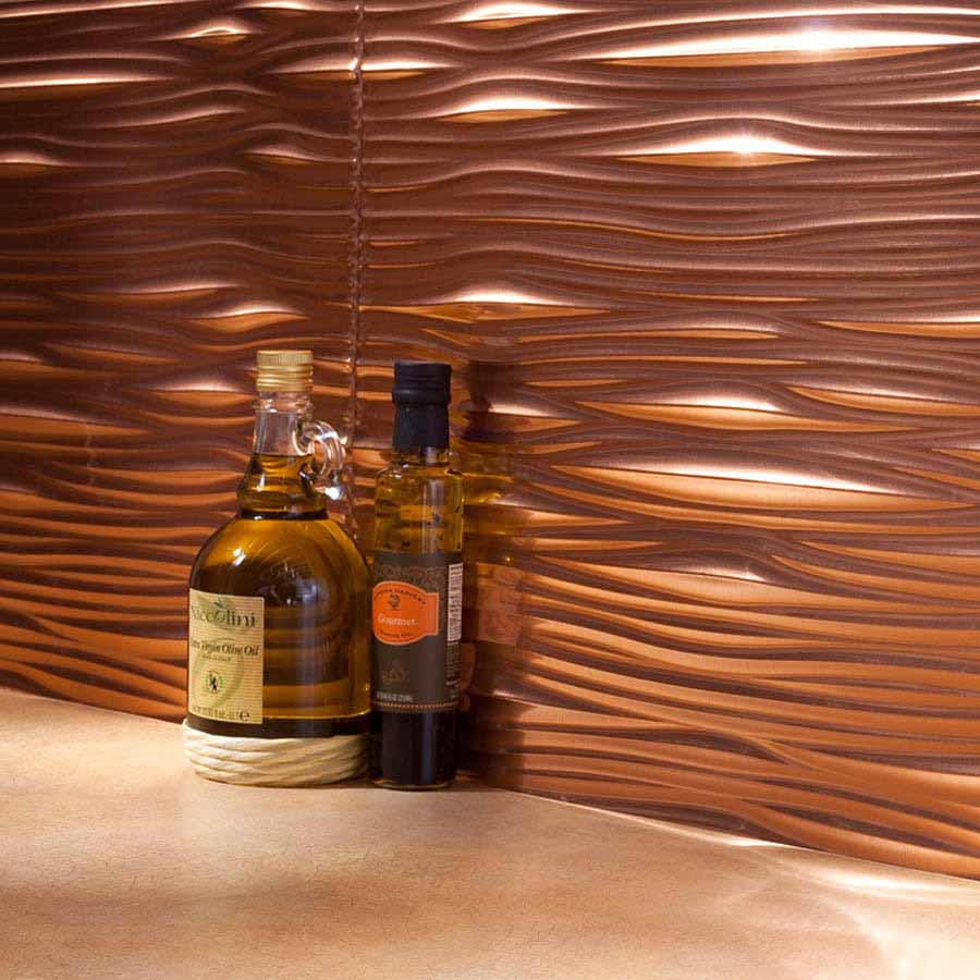 Fasade Backsplash - Waves in Polished Copper