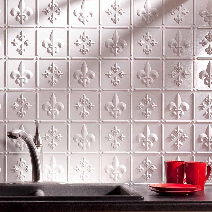 Fasade Backsplash - Fleur de lis in Matte White