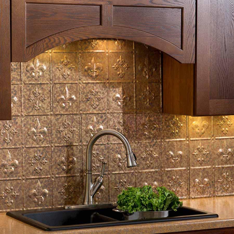 Fasade Backsplash - Fleur de lis in Cracked Copper
