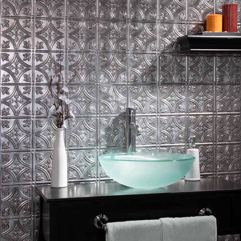 Fasade Wall Panel-Traditional 1 in Crosshatch Silver
