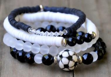 Soccer bracelet stack