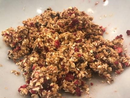 Healthy snack: mixing ingredients