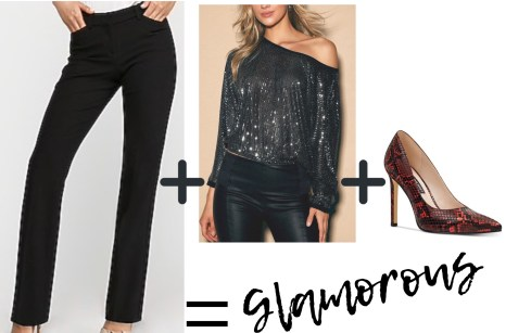 Dress Pants + Sequins + Heels