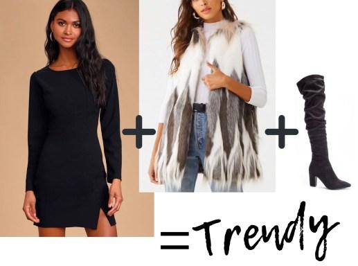 Little black dress + faux fur