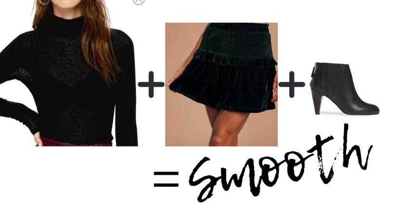 Black mock neck + Velvet skirt