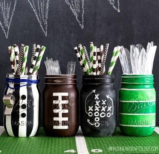 Super Bowl Party:  DIY Football Mason Jars