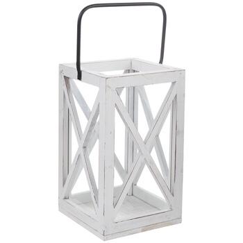 Mantle Decor: White Lantern