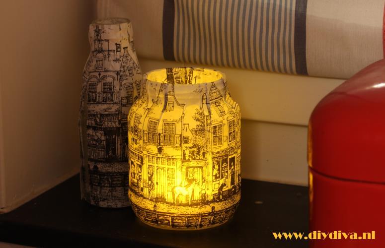 glazen pot versieren met papier sint diydiva
