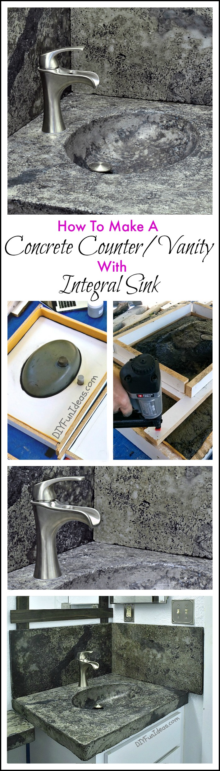 How To Make A Concrete Countertop Or Vanity With Integral Sink Do It Yourself Fun Ideas