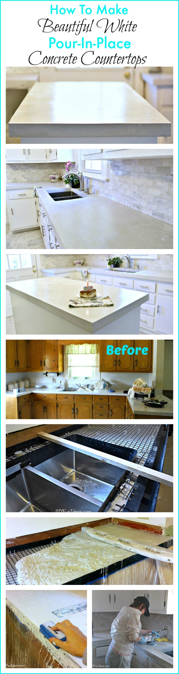 How To Make Diy Cast In Place White Concrete Countertops Do It Yourself Fun Ideas