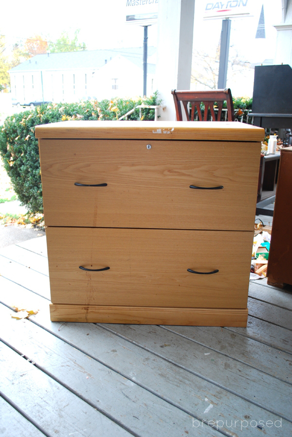 (Before) Aztec Filing Cabinet Makeover - by Brepurposed
