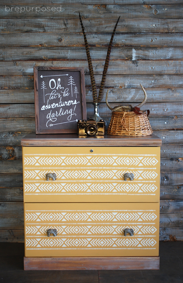 Aztec Filing Cabinet Makeover - by Brepurposed