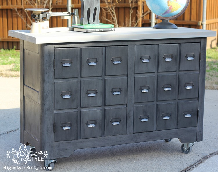 Industrial DIY Apothecary Cart Makeover - by High Style Restyle