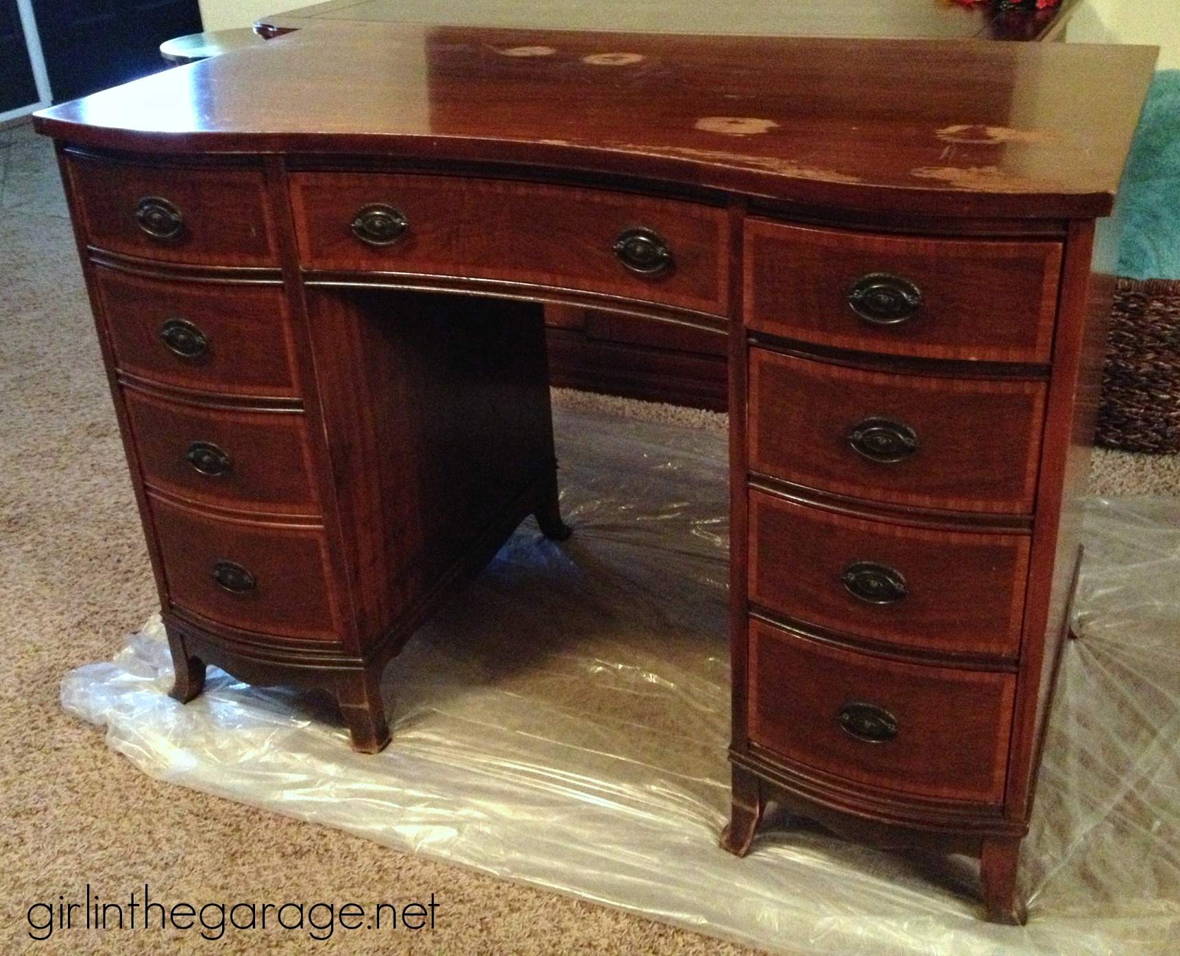 (Before) French Decoupage Desk Makeover - by Girl in the Garage