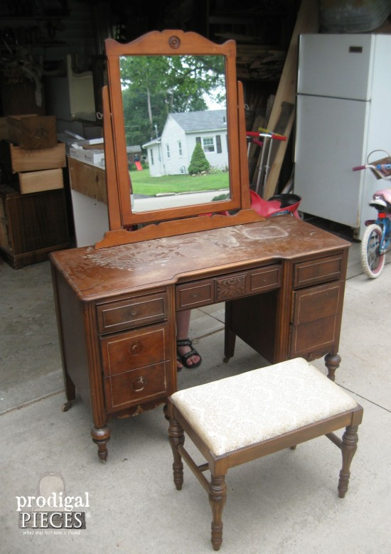 (Before) Curbside Vanity to French Beauty - by Prodigal Pieces