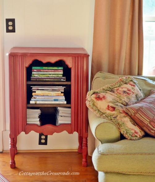 Antique cabinet makeover in red homemade chalky paint - by Cottage at the Crossroads