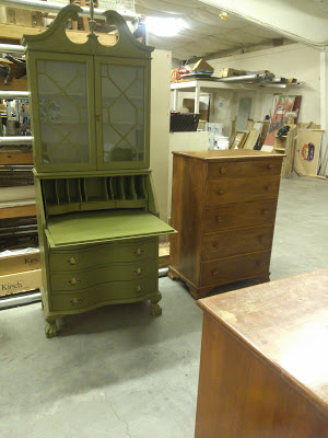 (Before) Sad to sensational vintage secretary hutch makeover - by Postcards from the Ridge