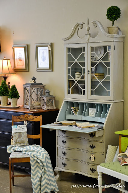 Sad to sensational vintage secretary hutch makeover - by Postcards from the Ridge