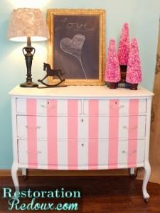 Pink Striped Dresser