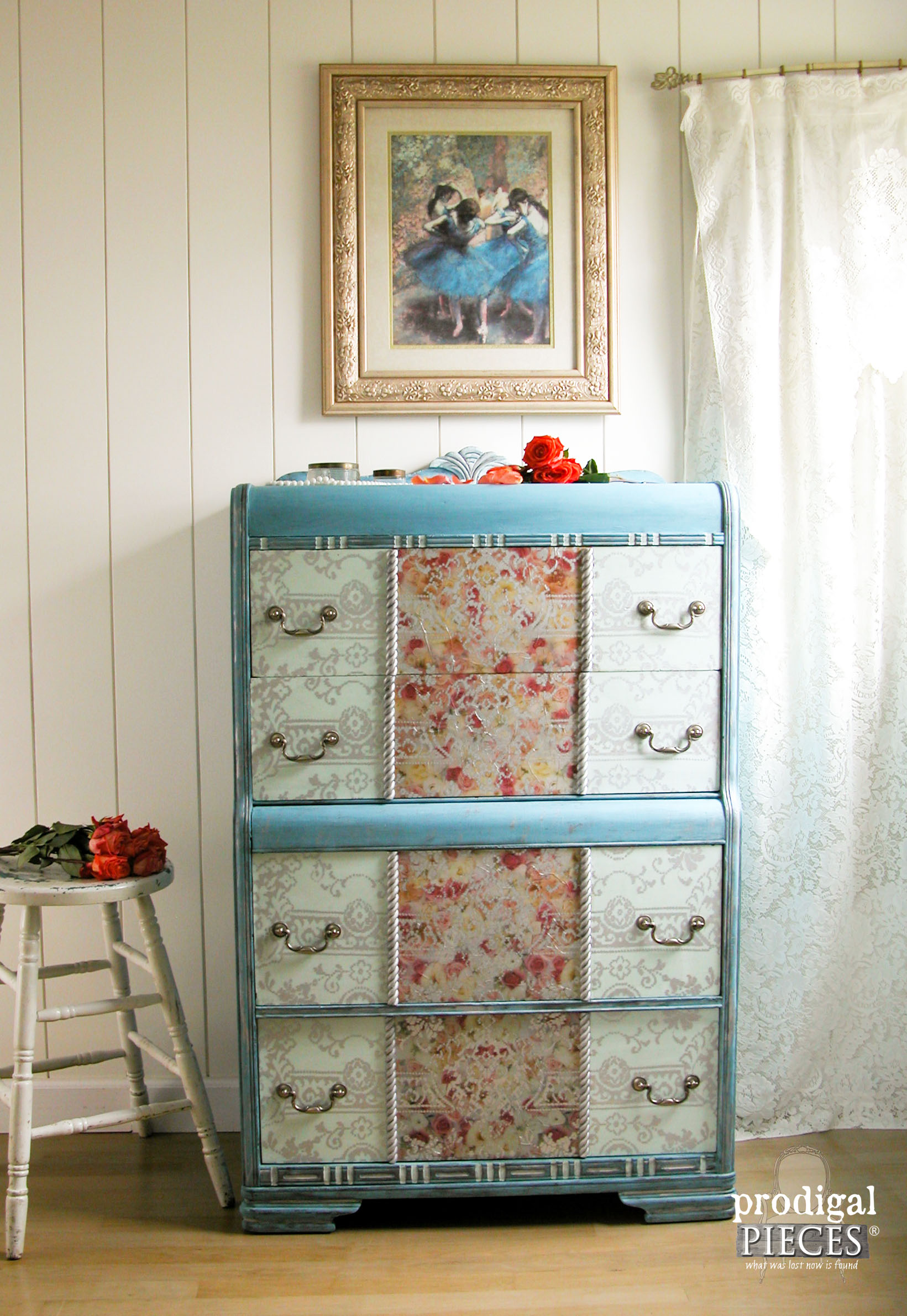 Rescued dumpster dresser to boho chic diva - Antique dresser makeover by Prodigal Pieces