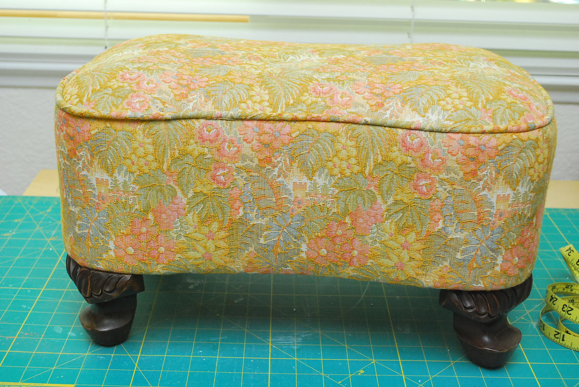 (Before) Upholstered footstool makeover with piping - by The Silly Pearl