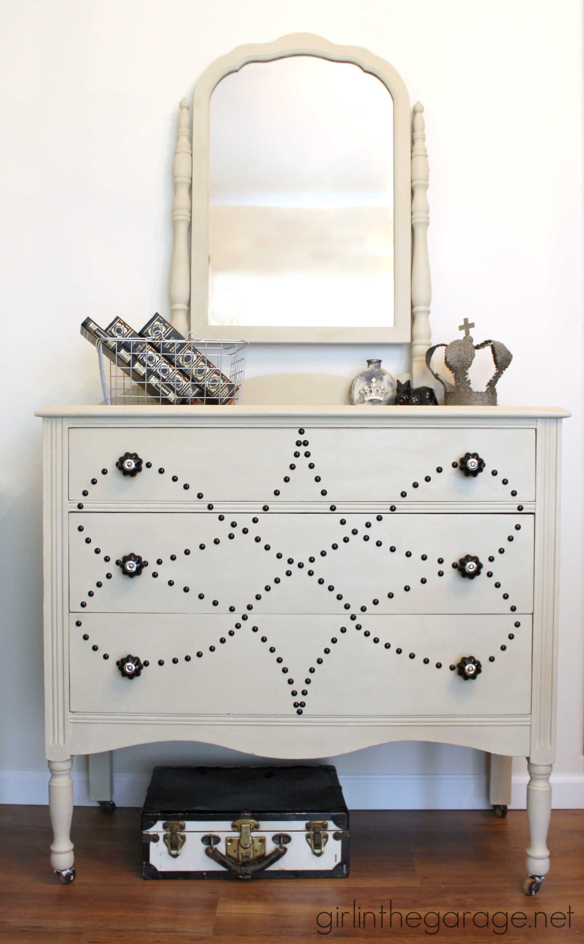 Nailhead Dresser Makeover - by Girl in the Garage
