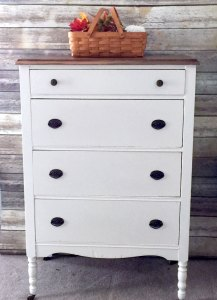 White and Striped Dresser