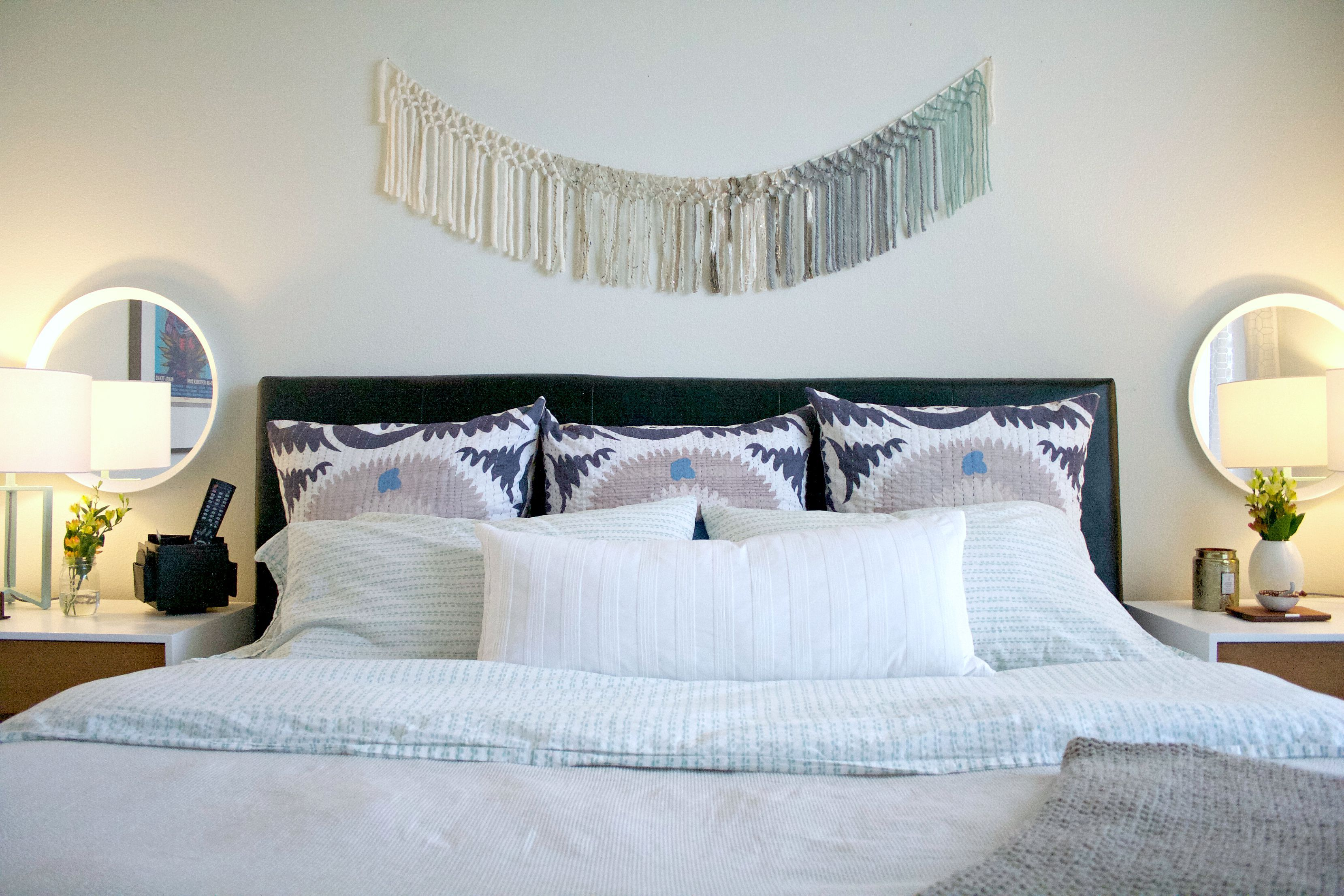 (Before) Headboard makeover to fit in with a light, calm bedroom makeover - by Awfully Big Adventure