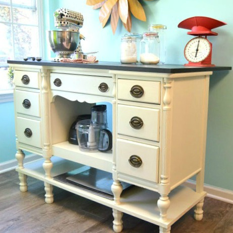 Repurposed Desk to Island by Create & Babble blog
