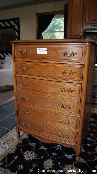 (Before) French Fabric Dresser Makeover - by Confessions of a Serial DIYer