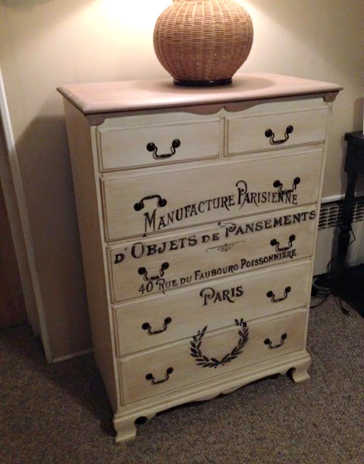 French Graphic Dresser Makeover - by Wild Sparrow Designs